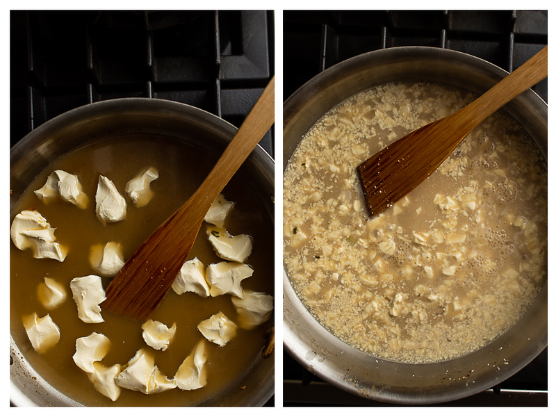 Photo collage showing cheese and broth in the pan.