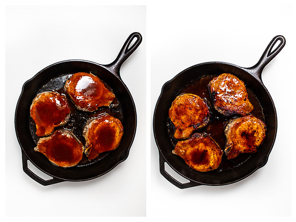 Photo collage showing pork chops in skillet covered with sriracha honey sauce.