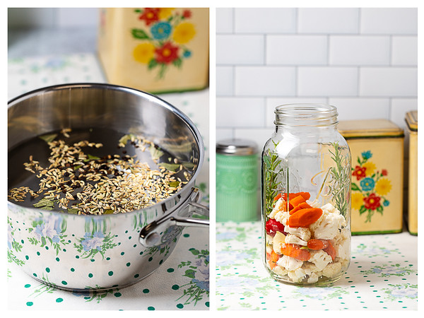Photo collage showing the brine heated in a pan and vegetables being placed in a jar.