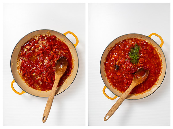 Photo collage showing tomatoes added to pan then dill being added to the pan.