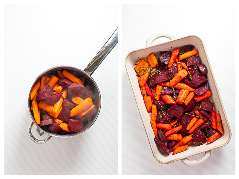 Photo collage showing beets and carrots steamed and then in a pan.