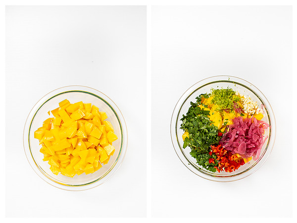 Photo collage showing diced mango and the rest of the salsa ingredients.