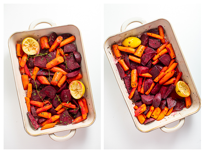 Photo collage showing beets and carrots in pan before and after roasting.