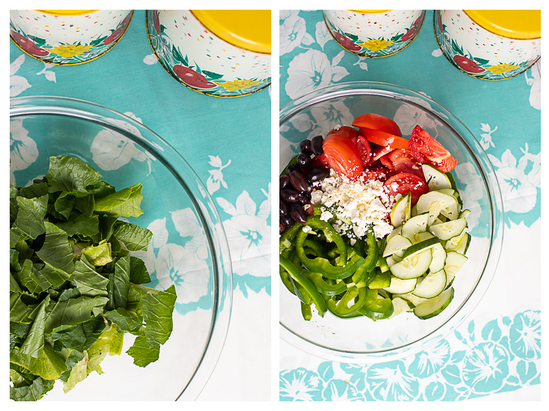 Photo collage showing lettuce in a bowl and then topped with tomatoes, cucumbers, bell peppers, olives and feta.