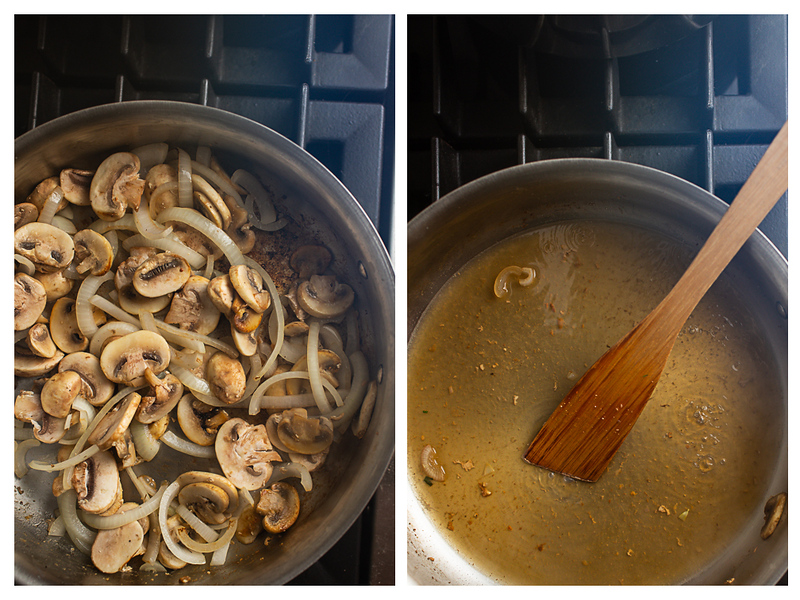 Photo collage showing onions and mushrooms in the pan and then sherry added.
