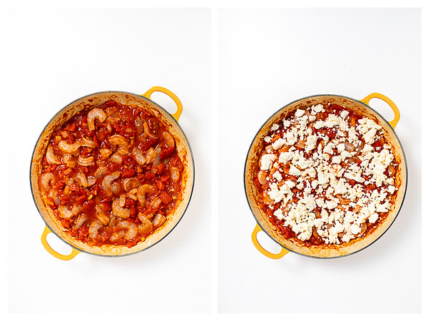 Photo collage showing shrimp added to the pan then feta on top.