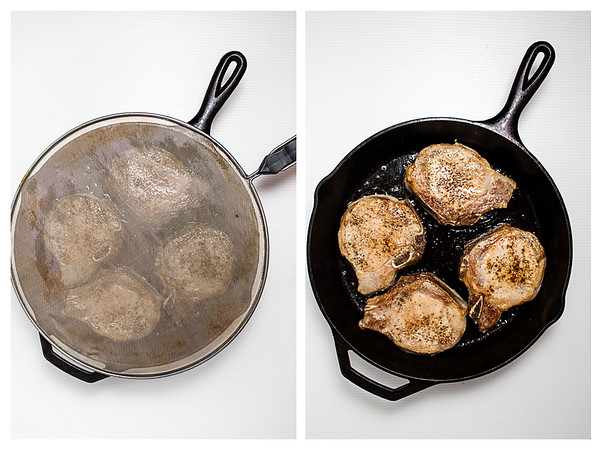 Photo collage showing pork chops being browned in a cast iron skillet.