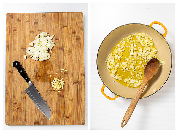 Photo collage showing onion and garlic minced and then sautéed in olive oil.