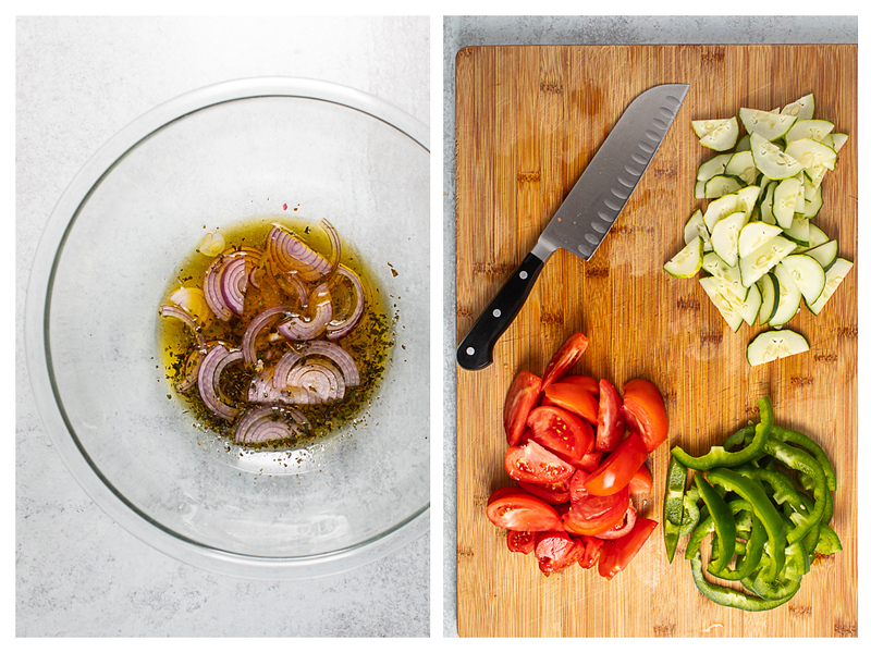 Photo collage showing onions marinating in a bowl and tomatoes, bell peppers and cucumbers sliced.