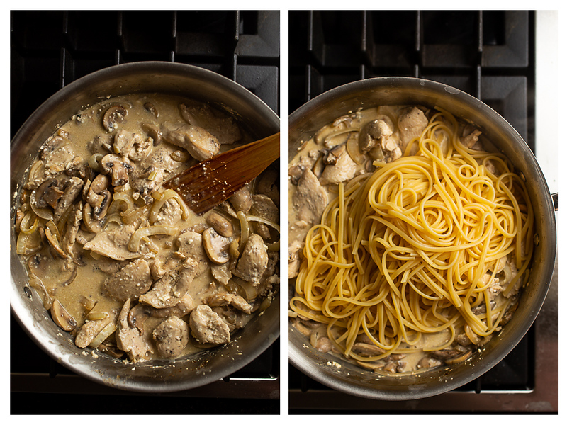 Photo collage showing chicken, mushrooms and pasta added to the skillet.