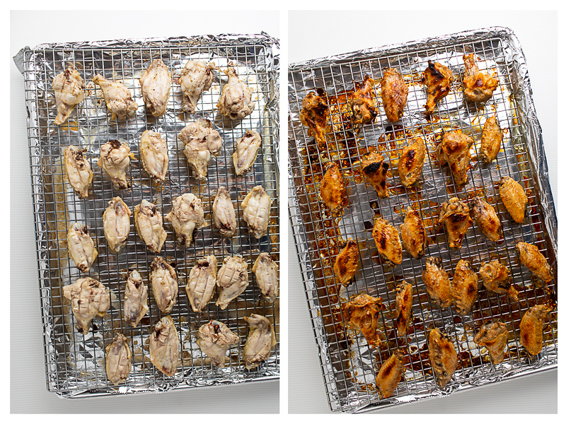 Photo collage showing chicken wings on a baking sheet.