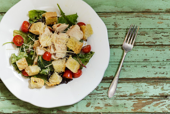 Grilled chicken and arugula Caesar Salad