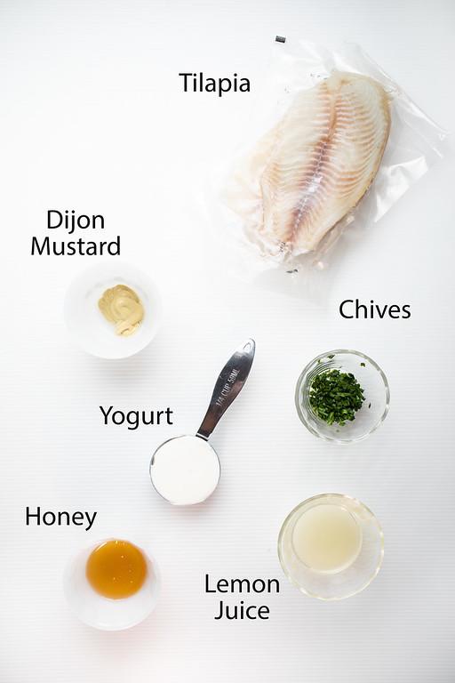 Tilapia, Dijon mustard, yogurt, chives, honey, and lemon juice.