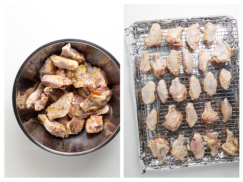 Photo collage showing wings in a bowl and then on a foil lined baking sheet.