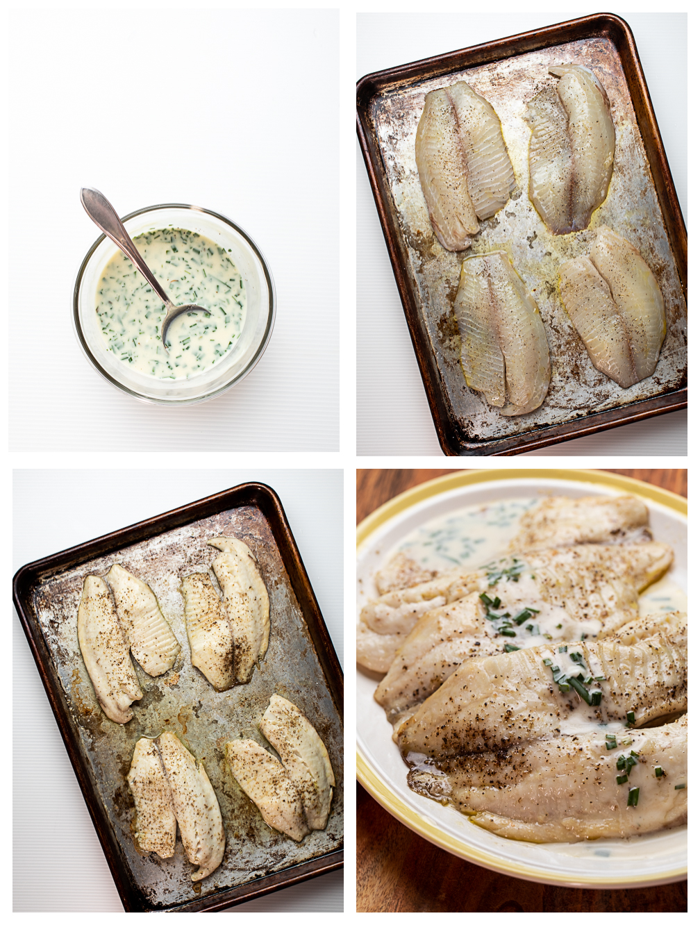 Photo collage showing the steps for making an easy broiled tilapia.
