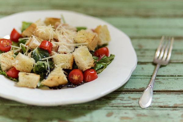 Grilled Chicken and Arugula Caesar Salad with Grilled Croutons