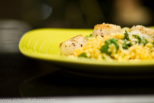 Seared Scallops on Lemon and Spinach Risotto
