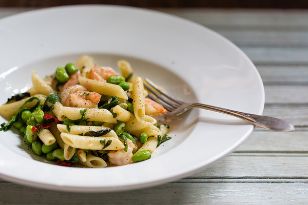 Pea and Shrimp Penne with Basil