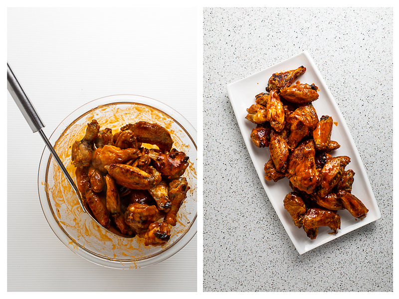 Photo collage showing chicken wings tossed with sauce and then on a platter.