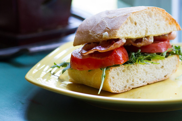 Pancetta, Mizuna, and Tomato Sandwiches