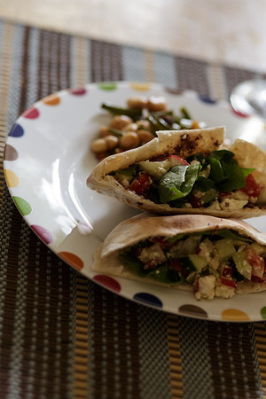 Greek Salad Pitas with Olive Garlic Tapenade
