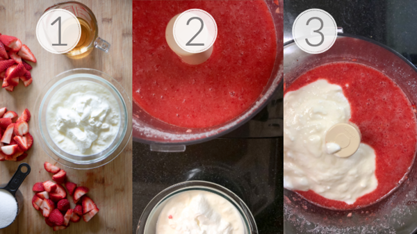 Photo collage showing the first 3 steps for making strawberry frozen yogurt.