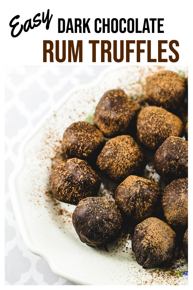 Plate of chocolate truffles dusted with cocoa powder and text reading Easy Dark Chocolate Rum Truffles