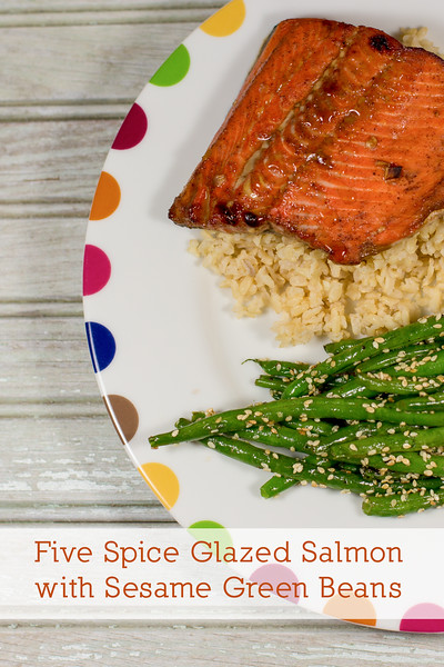 Five Spice Glazed Salmon with Sesame Green Beans - a fantastic one pan meal!