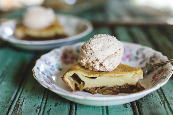 Apple Clafoutis with ice cream
