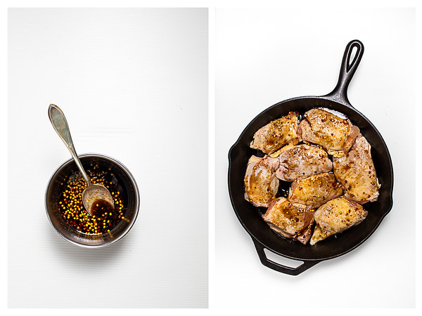 Photo collage showing Thai sauce being made and spooned over chicken in a cast iron skillet.