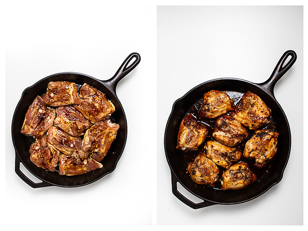 Photo collage showing Thai chicken before and after roasting.
