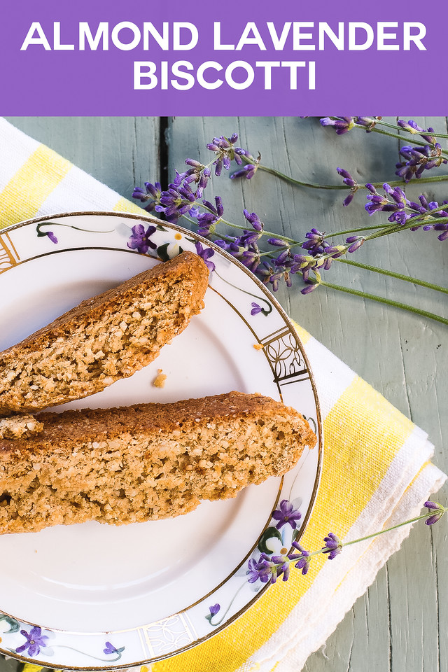 Plate of biscotti with fresh sprigs of lavender and text reading Almond Lavender Biscotti