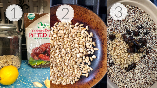 Photo showing steps 1, 2, and 3 for making baked quinoa with chicken.
