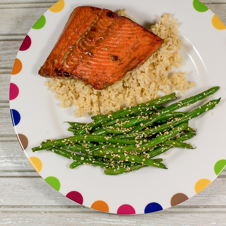 Five Spice Glazed Salmon with Sesame Green Beans - one pan dinner!!