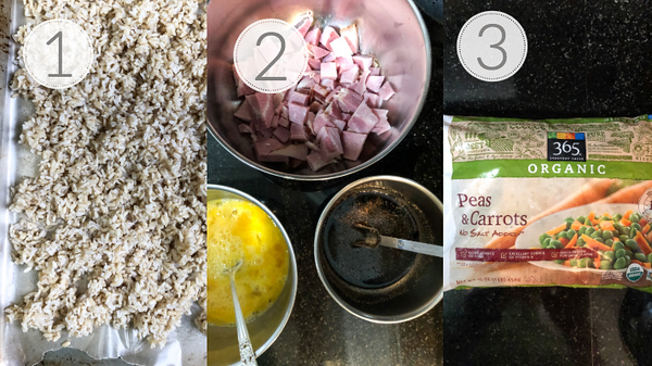 Photo collage showing steps 1, 2, and 3 for making fried rice.