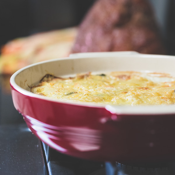 Casserole dish with cheesy potatoes