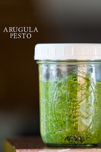 Arugula Pesto!  Perfect for topping soups or pasta or even a pizza!!
