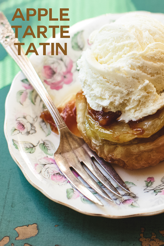 vintage plate with an apple pastry with a scoop of ice cream on top and text reading Apple Tarte Tatin