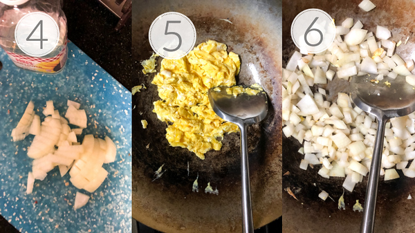Steps 4, 5, and 6 for making fried rice.
