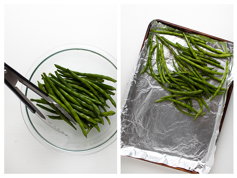 Photo collage showing green beans in a boil and then in a foil  lined baking sheet.