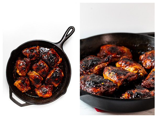 Photo collage showing browned chicken in a cast iron skillet.