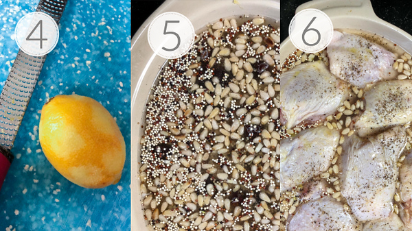 Photos showing steps 4, 5, and 6 for quinoa baked chicken thighs.