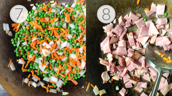 Steps 7 and 8 for making the fried rice.