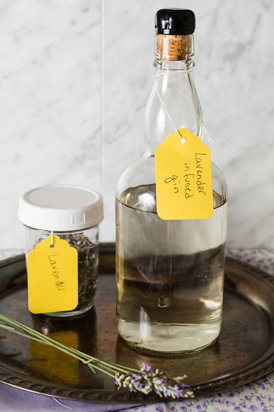 Bottle of lavender infused gin