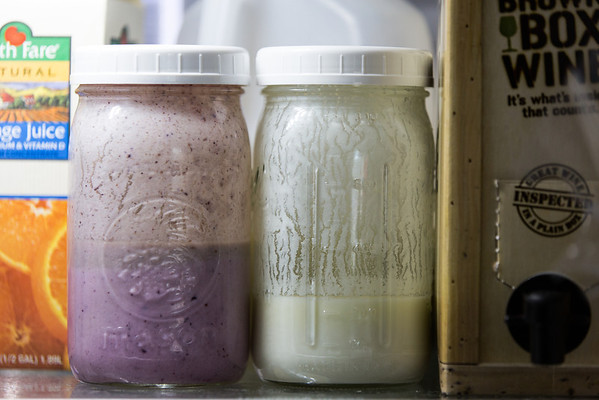 Homemade kefir in the fridge