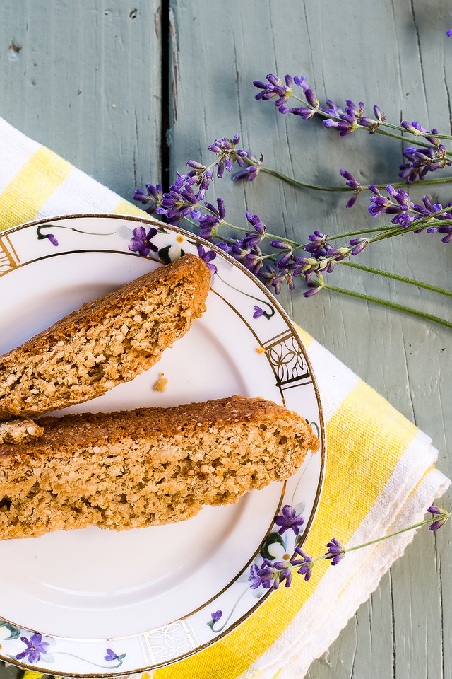 plate of almond lavender biscotti with fresh lavender