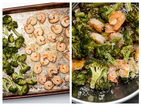 Photo collage showing roasted shrimp and broccoli on a sheet pan and then tossed in a bowl.