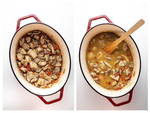 Photo collage showing the first two steps for making chicken tagine.