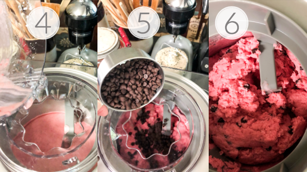 Photo collage showing steps 4-6 for making healthy frozen yogurt.