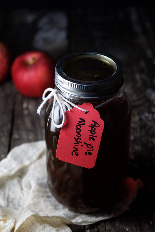 Jar of DIY apple pie moonshine